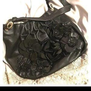 Brighton black purse- artistic flowers